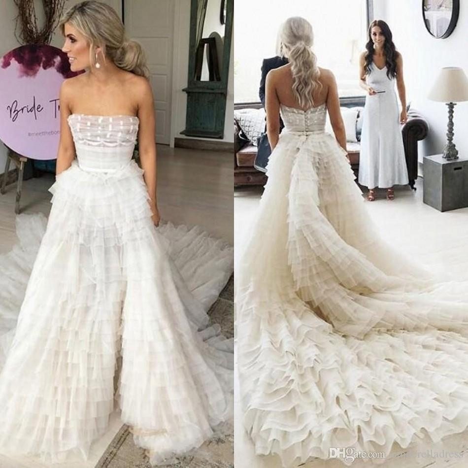 Discount 2020 Cascading Ruffles Wedding Dress With Sashes