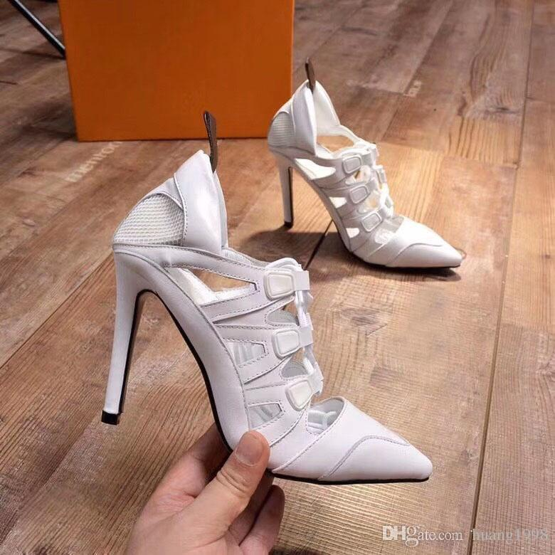 Hot-selling lady cowhide stitching high-quality fashion designer lady sandals heel 10cm original box