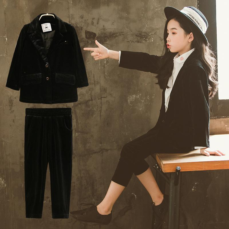 56ab1d4101 2 2018 Compre Negro Conjuntos Niñas Moda Otoño Ropa Blazer Unids R6qYn6