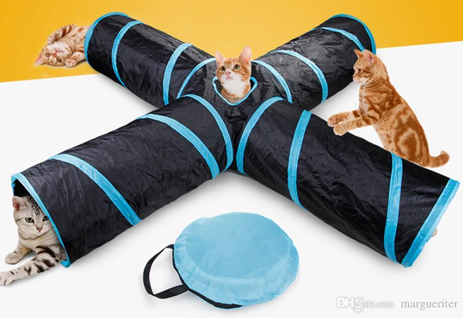 Pieghevole Cat Channel Creative Sound Paper Long Tee Tunnel Puzzle Pet Giocattoli Cat Training Giocattoli Cat Supplies Regali