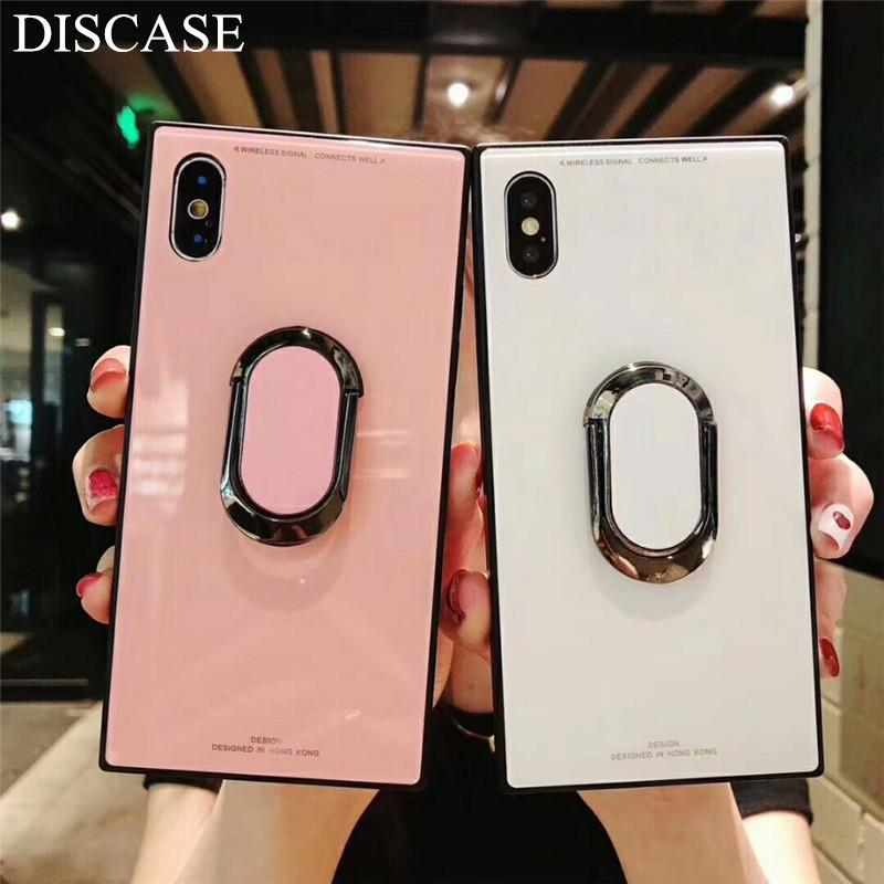 online retailer 65af4 d1056 Square Fashion Classic Phone Case For iphone X Case For iphone 6 6s 7 8  plus Luxury Tempered Glass Case With Stand Upscale Coque