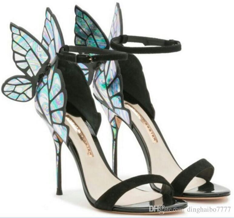 c5050aff29437b Acheter Overseas2019 Vente Chaude Sophia Webster Cleo En Cuir Papillon  Ultra Sandales À Talons Pour Dame Sexy Stiletto Chaussures De $101.31 Du  Dresshoes ...