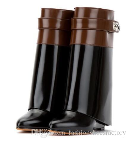 6b30d95f7 Women Boots Women Wedge Boots Leather Shark Lock Mid Calf Boots Fold Over  Height Increasing Botas Mujer Shoe Boots For Women Black Boots From ...