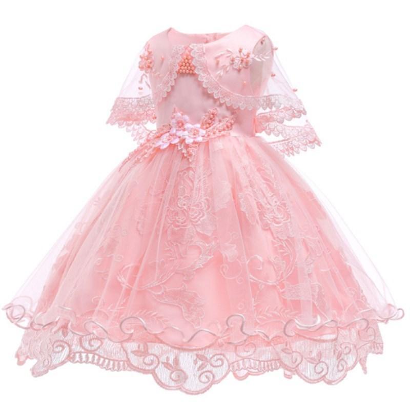 f74db86e1 Compre Vestidos De Niña De Flores Para La Fiesta Boda Bebé Niñas 1er Año  Cumpleaños Traje Algodón Linging Niños Niñas Vestidos De Primera Comunión  Y190516 A ...