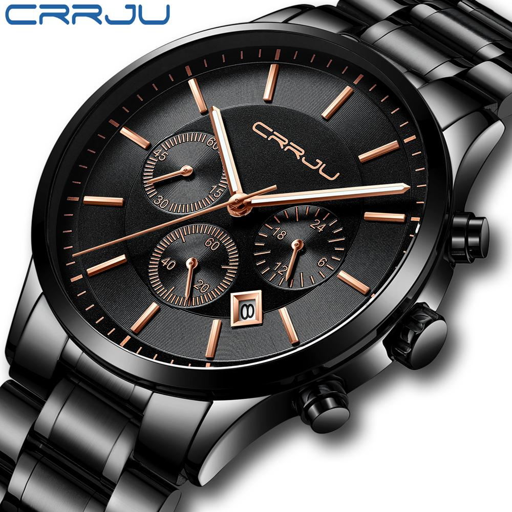 CRRJU Luxury Brand Men Stainless Steel Chronograph Watch Stylish Sport Waterproof Black Date Display Clock Relogio Masculino