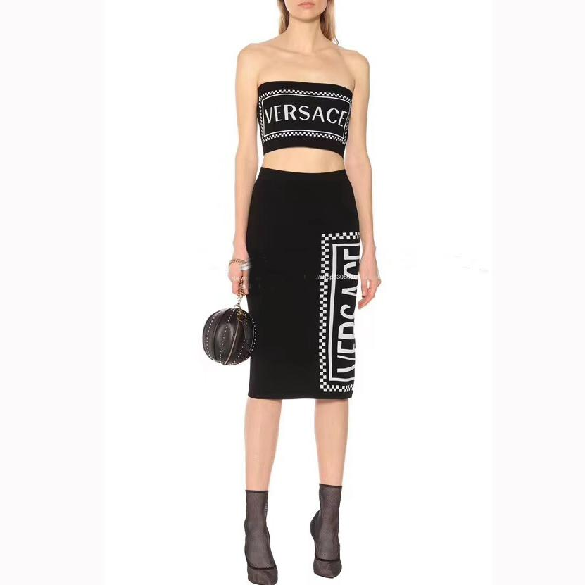65da35495d 2019 Women Dress Suits Sexy Tube Top String + Over The Knee Long Skirt 2019  Summer New Letter Knit Two Piece Skirt Suit From Memehh