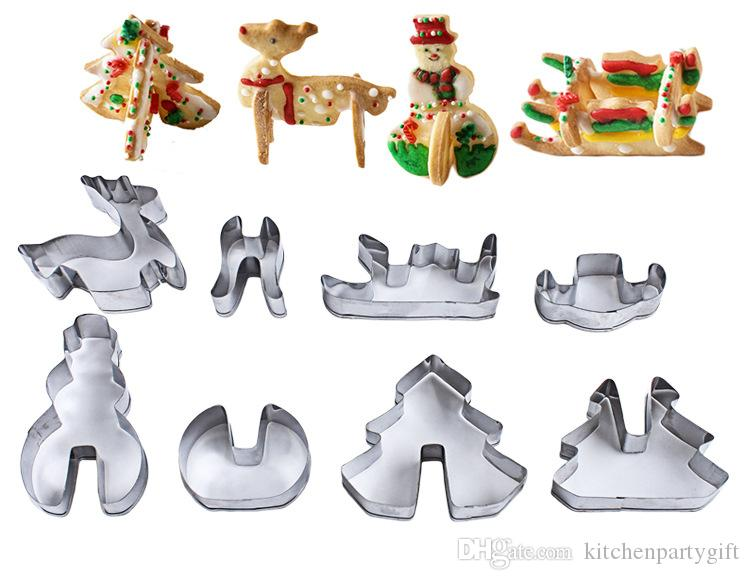 Creative 8pcs/set Stainless Steel 3D Christmas Cookie Cutters Cake Cookie Mold Fondant Cutter DIY Baking Tools Bakeware Tool