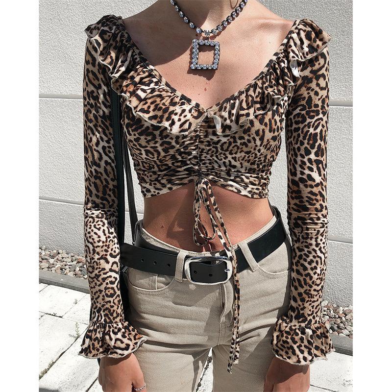 882bec5079b88 Womens Shirts 2019 Spring New Sexy V-neck Top Fashion Leopard Print ...