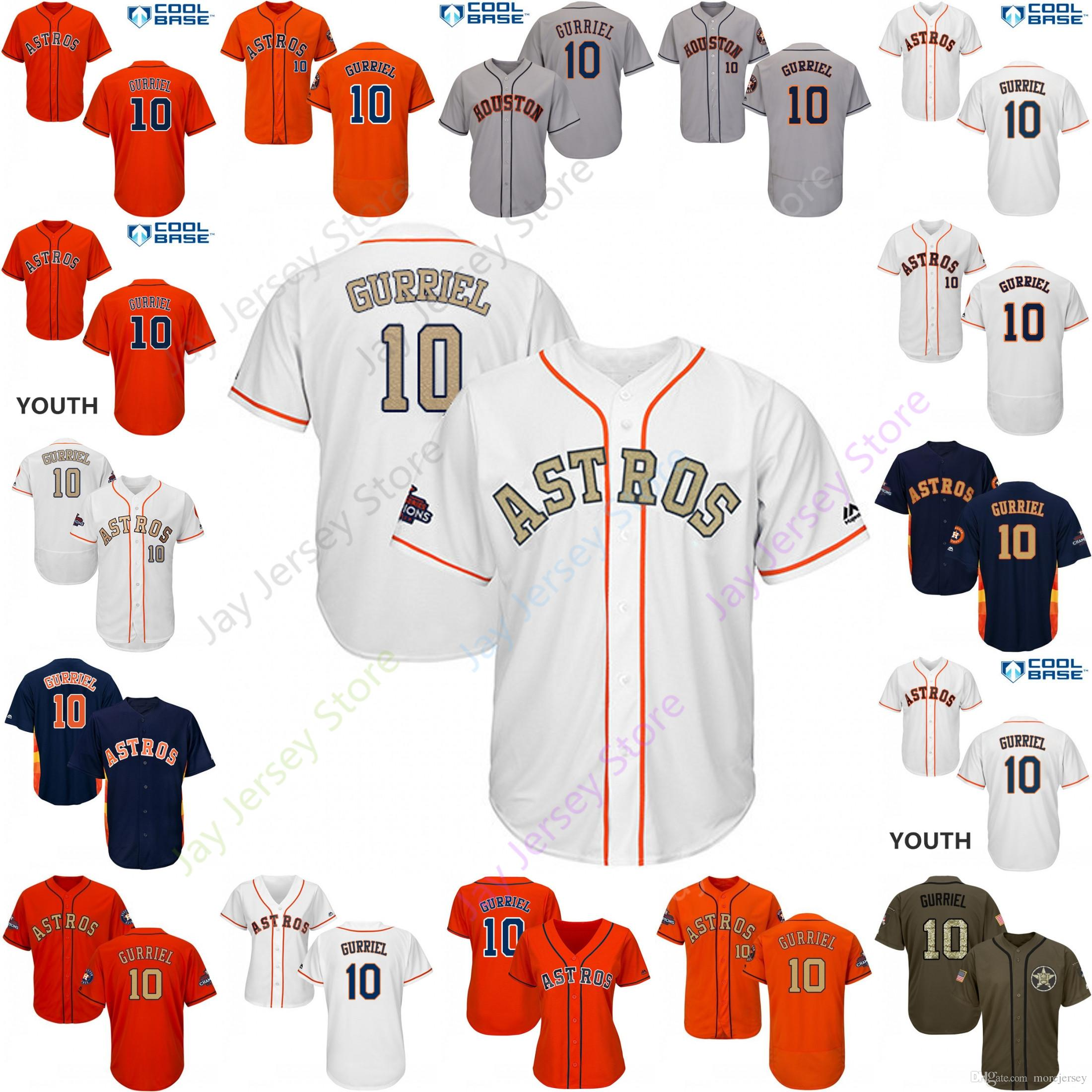 buy popular 84bbf 0d17d 2019 Houston 10 Yuli Gurriel Jersey Astros Jerseys Cool Base Flexbase Home  Away White Black Red Grey Pullover Button Men Women Youth