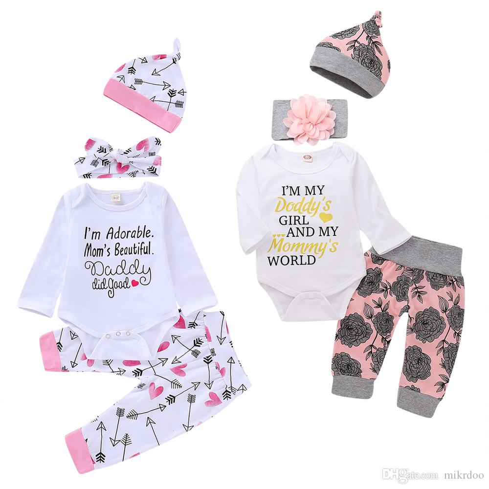 ddeec466a Mikrdoo Newborn Infant Baby Boys Girls Romper Clothes Set Floral and  Letters Print Romper Top Pant Bow Headband 4PCS Outfit