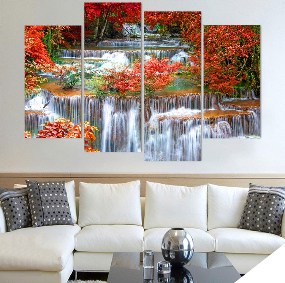 Acquista Home Decoration Photo Canvas Modulare 4 Pannello Cascata ...
