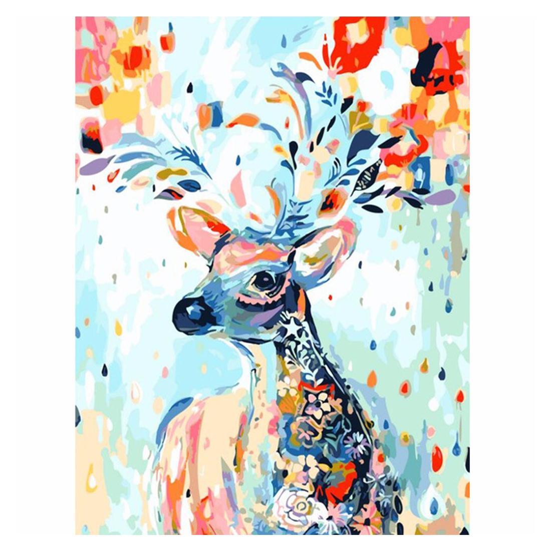 Diy Malerei Für Wohnkultur Malen Nach Zahlen Auf Leinwand Mit Acrylfarben Pinsel Mit Oder Ohne Für Erwachsene Anfänger Sika Hirsch