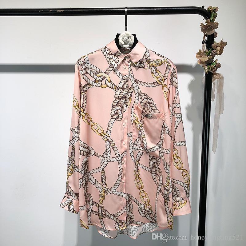 539f5c4c18 2019 nuove donne europee di moda sciolto abbottonare colletto manica lunga  catene di colore rosa stampa camicia a maniche lunghe in raso medio ...