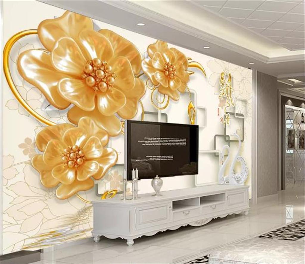 Custom Photo Wallpaper 3d Beautiful Jewels, Jade Carvings, Flowers, Fragrance 3D Living Room TV Background Bound Wall Painting Wallpaper