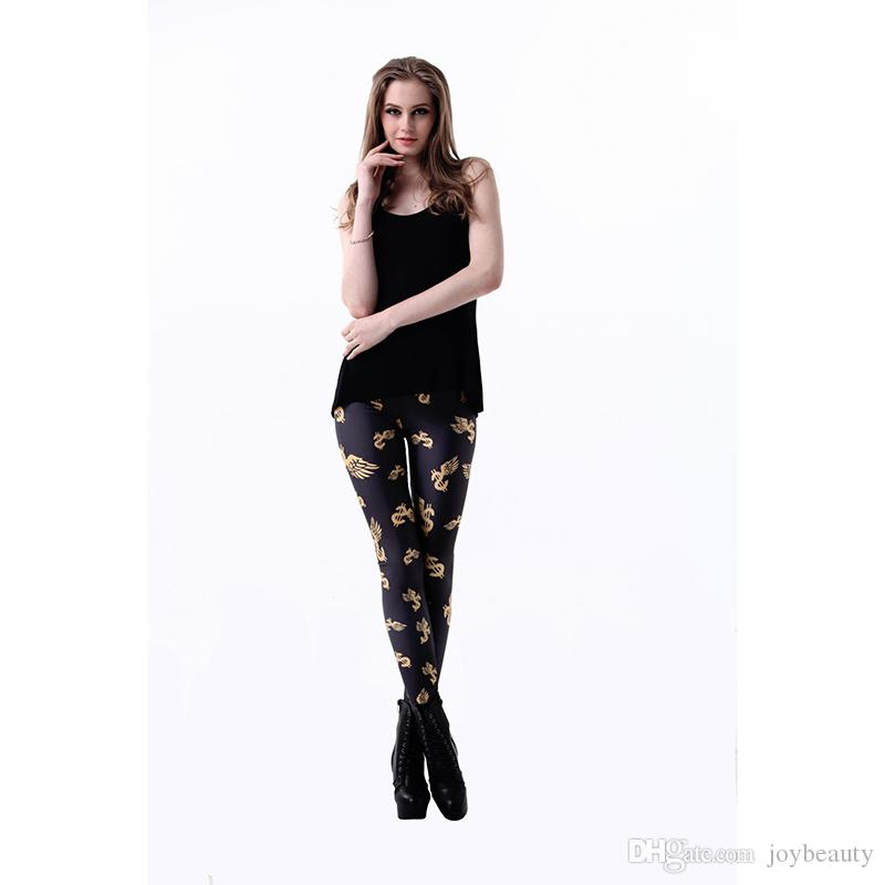 55269ab6bd 2019 Lady Leggings Dollar Symbol Wing 3D Digital Full Printed Full Length  Pencil Pants Girls Workout Trousers Woman Casual Pencil Fit RLLgs3234 From  ...