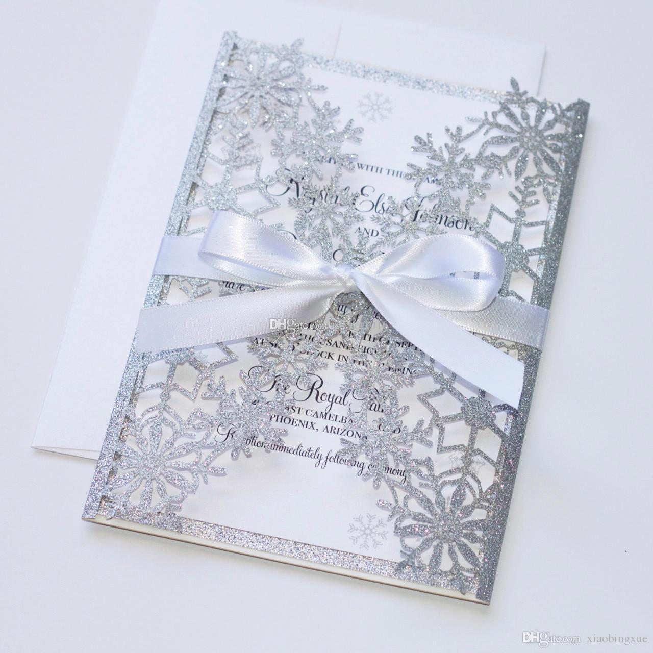 Luxury Silver Wedding Invitation Snowflake Laser Cut Elegant Hollow Party Invitations With White Bow First Munion: Blank Wedding Invitations Snow Flakes At Reisefeber.org