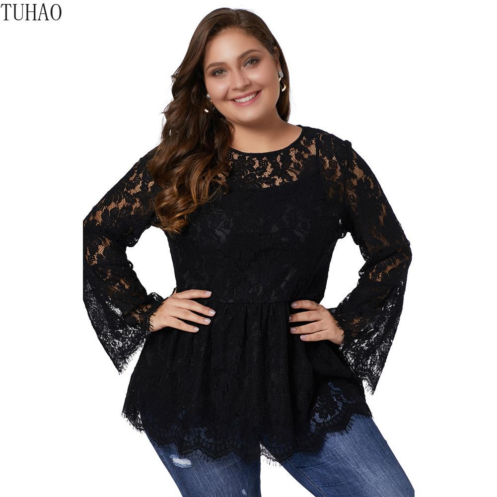 a82dd2a41 2019 SPRING Woman Office Lady Lace Elegant Blouse Plus Size 5XL 4XL 3XL  Blouses Shirt Tops Hollow Out Flare Sleeve Tops From Gentlecasual, $40.21 |  DHgate.