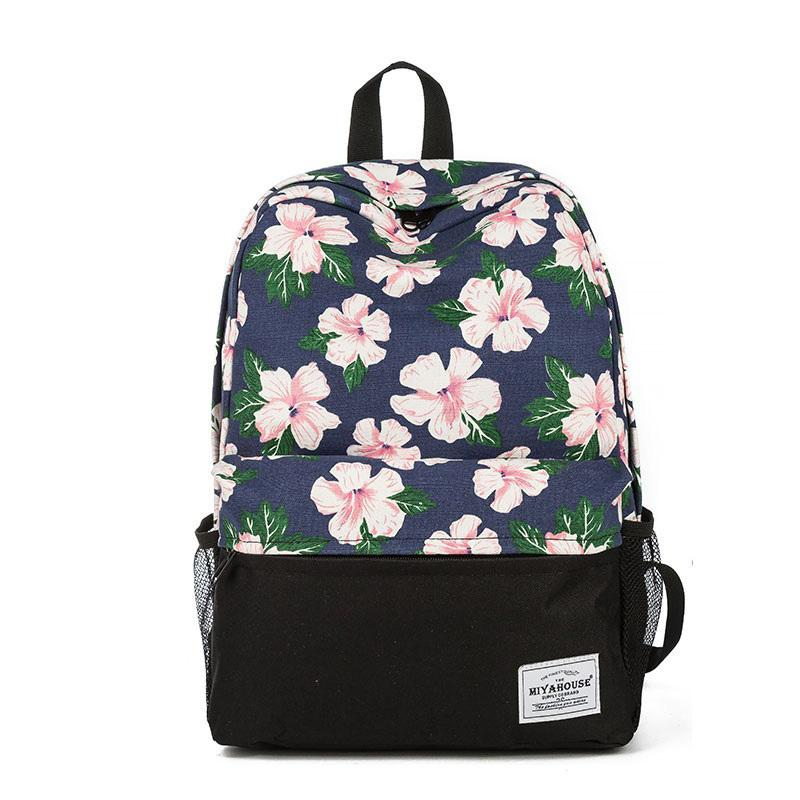 good quality Fresh Style Floral Printed School Backpack For Teenage Canvas School Bag Girls High Quality Female Travel Rucksack