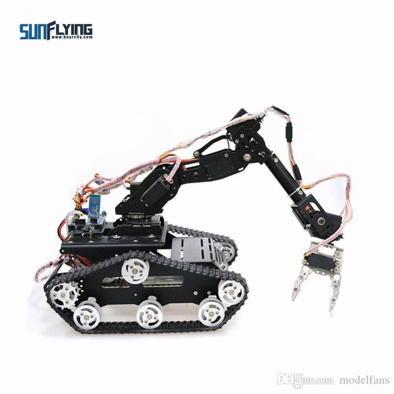 WiFi/Bluetooth/Handle control Mobile Robot Arm Robotic Gripper with Metal  Tank Chassis for DIY RC Robot Model Kit