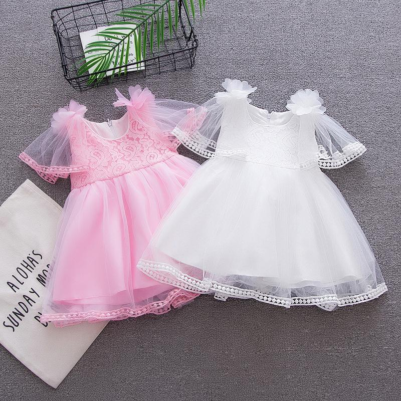 good quality 2019 summer baby girls dress clothes kids girls lace princess dress infant toddler girls party birthday formal frock