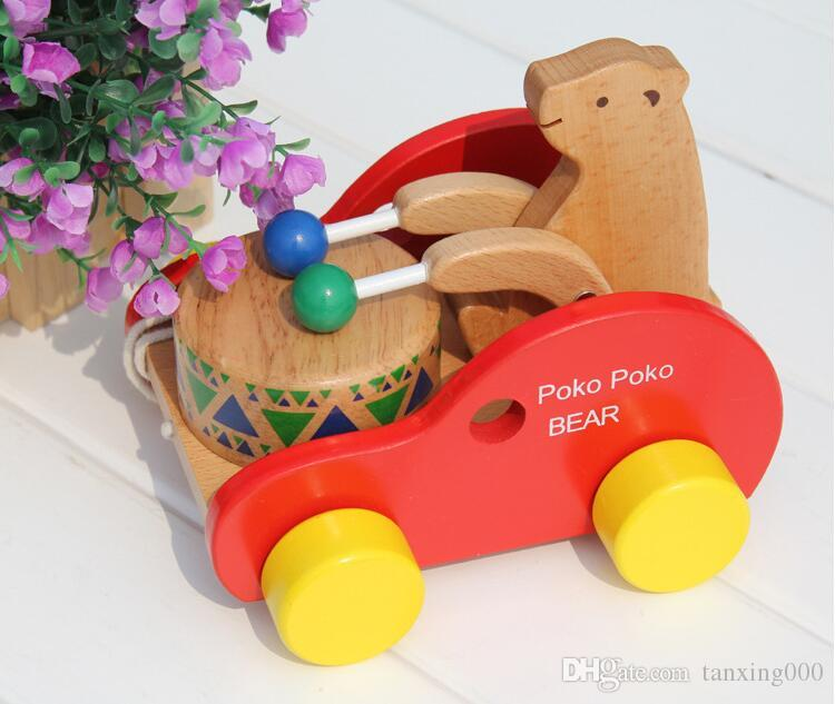 Beech wood small bear knock drum car early education educational children toy pull toddler toy pull car toy child
