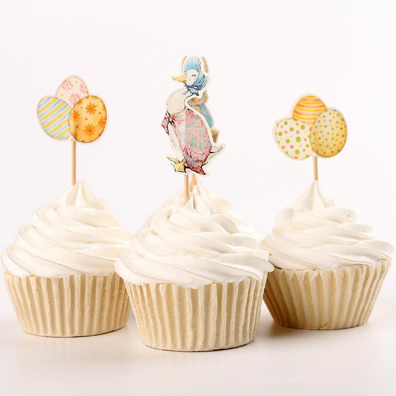 24 Adet Paskalya Yumurta Tavşan Kek Dekorasyon Doğum Günü Partisi Süslemeleri Çocuklar Bebek Duş Paskalya Dekorasyon Düğün Parti Dekorasyon.