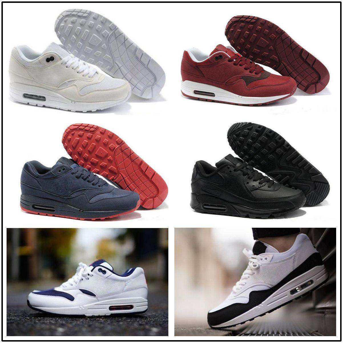 b73ad37e3ac Acheter Nike Air Max Airmax 87 90 Nouveau Arrivel Famous 87 90 Ultra 1  Éléphant Noir Effacer Jade Blanc Hommes Chaussures De Course Baskets Taille  40 45 De ...