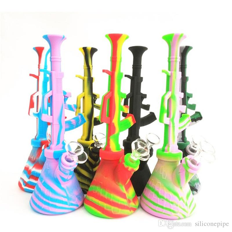 10.6'' Ak47 Mini Hookah Shisha Unbreakable Silicone Water Pipe Hookah Bong 14.4mm Joint Dab Rig Glass Pipe