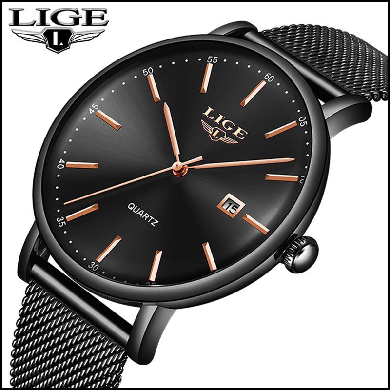 1aabaa37c35 Compre LIGE Moda Fino Mens Relógios Top Marca De Luxo Relógio De Quartzo  Homens Casual Magro Malha Esporte À Prova D  Água Relógio Preto Reloj Hombre  2018 ...