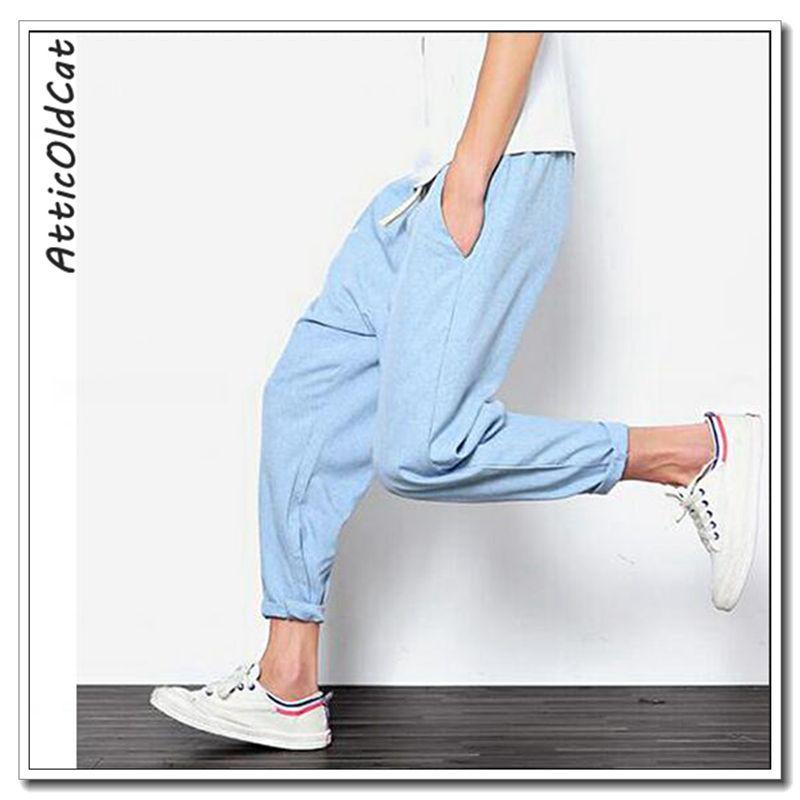 3f7620488 2019 Plus Size Cotton Linen Harem Pants Mens Jogger Pants Male ...