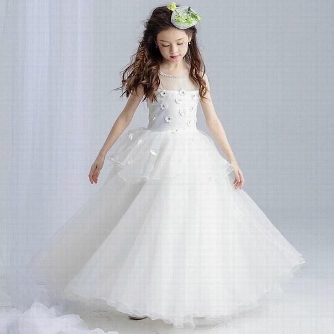 New Beautiful Princess Flower Girl Dress Pageant Prom Wedding Party Birthday Occasion Children Gown Kids Dresses YYST53