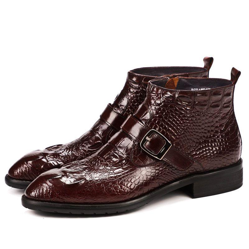 2bca1e380 Compre Nuevo Otoño Invierno Botas De Hebilla Hechas A Mano Para Hombre Cuero  De Vaca Británico Tobillo Botas Cortas Zapatos Hombre Cocodrilo De Cuero ...
