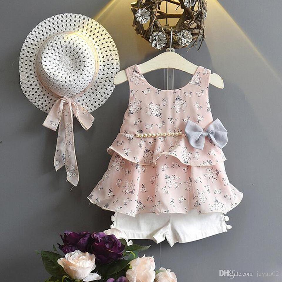 f2483874eb1f1 Summer Baby Girls Clothes 2pcs Sets Strap Dress Floral Bow Fashion Children  Suit Hats Baby Girls Clothes Kids Clothing