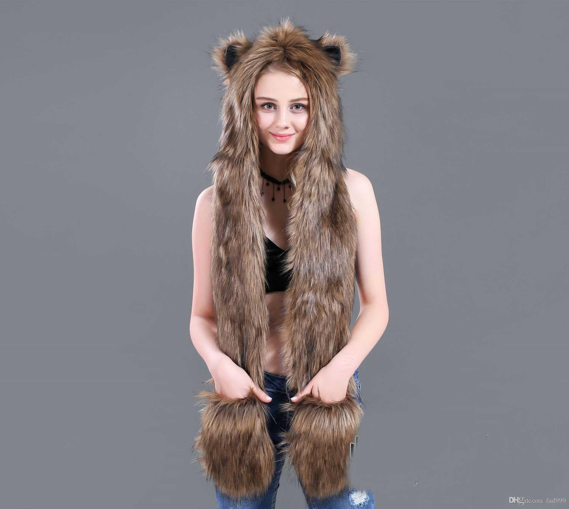 75fcfab8e2d229 2019 2018 Hot Trend Fashion Winter Imitation Fur Hat Fur Cap Cartoon Animal  Hat Scarf Gloves One From Fad999, $16.89 | DHgate.Com