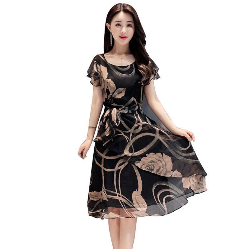 d1b6fb87f Compre Fajas Lace Up 2019 Verano Elegante Vestido De Las Mujeres Estampado Floral  Vestido De Gasa Fiesta De Noche De Playa Moda Cortos Vestidos Robe Femme A  ...