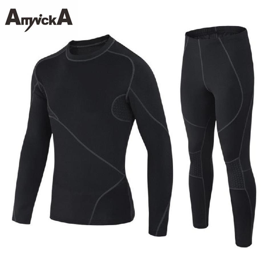 Amynicka Brand Thermal Underwear Sets Men Nice Pop Winter Quick Dry Warm Mens Thermo Underwear Male Warm Long Johns Black A24a
