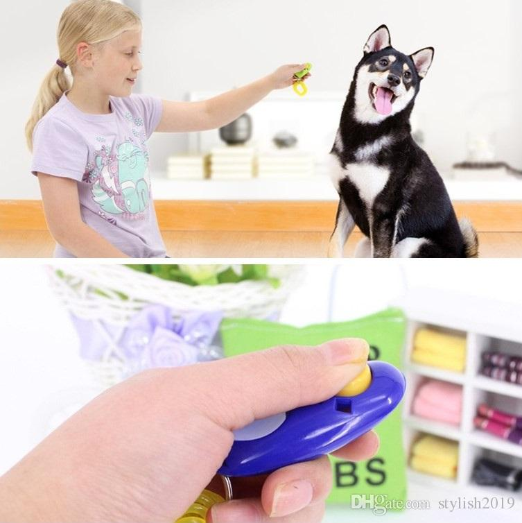 Puppy Dog Cat Pet Click Clicker whistle Training Obedience Aid Wrist Strap Guide Click Pet Training Tool wcw596
