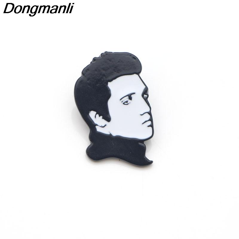P3406 Dongmanli Elvis Presley The King Metal Enamel Pins and Brooches for  Women Men Lapel Pin Backpack Bags Badge Kids Gifts