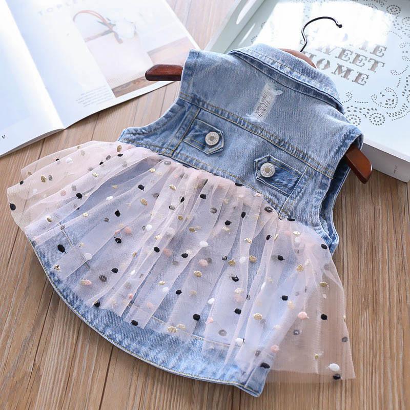 7d97ed36f Cute Girls Dot Tulle Denim Jacket Coats Pocket Sleeveless Summer ...