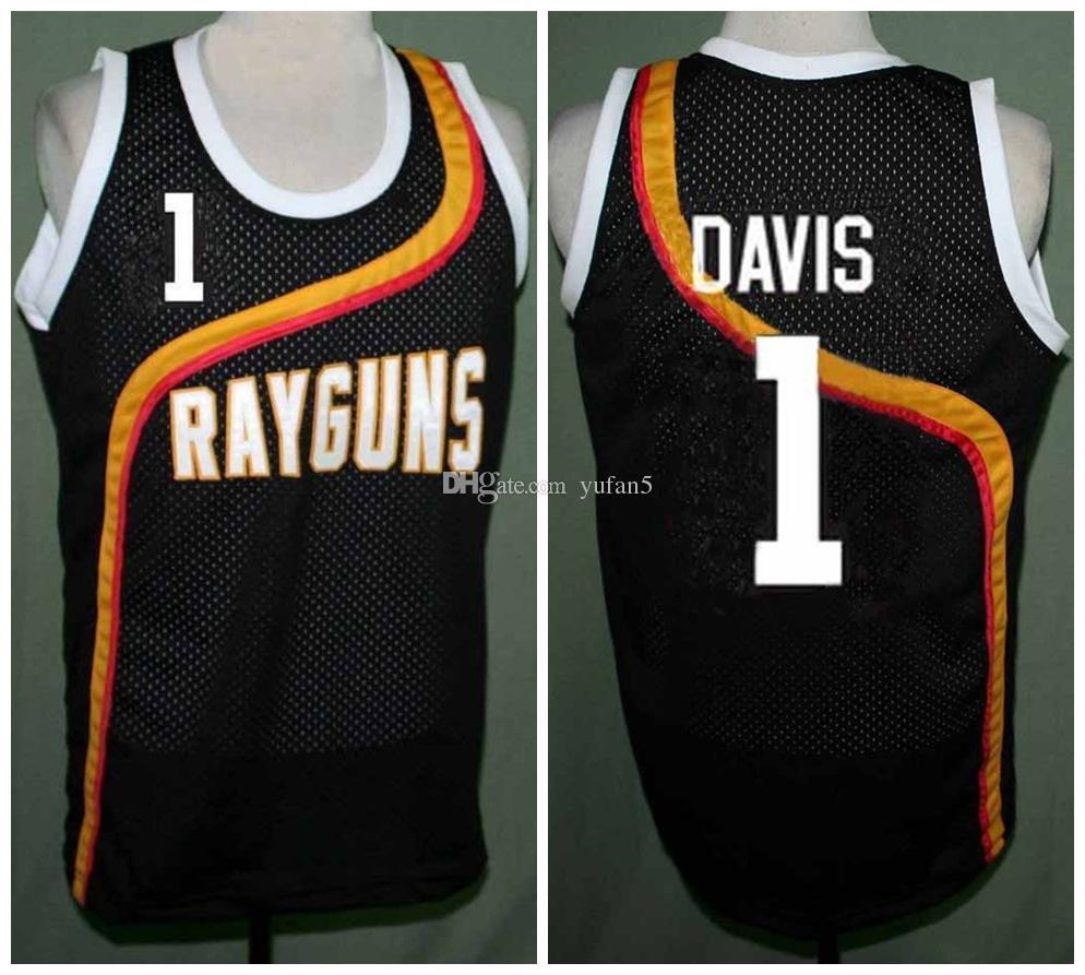 6b4e051e Baron Davis #1 Roswell Rayguns Black Retro Basketball Jersey Men's Stitched  Custom Any Number Name Jerseys