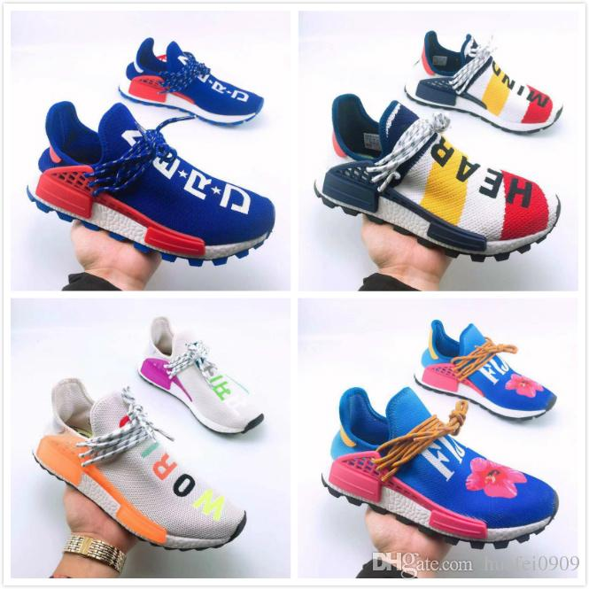 online store 8cfbf 8225f 2018 BBC 2019 Human Race Being HU HUMAN RACE SPIECES Pharrell Williams X up  Running Shoes Sneaker Real Yellow Red Blue Green Black eur 46 47