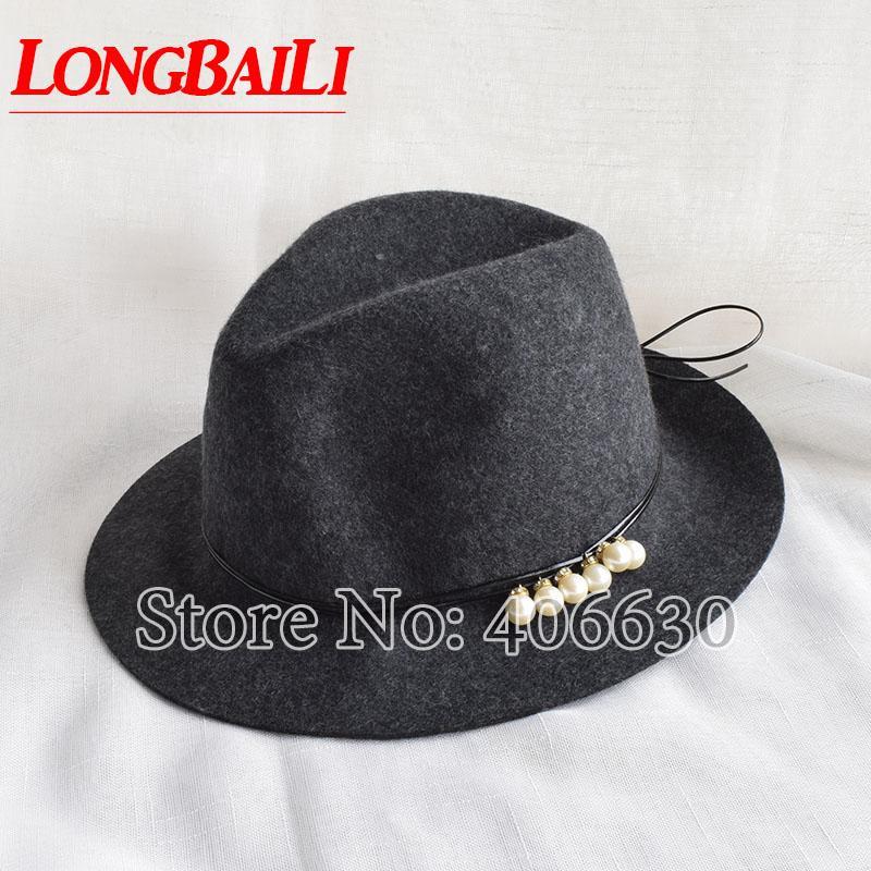 fcd8832af22 2019 Winter Elegant Gray Wool Felt Fedora Hats For Women Chapeu Feminino  SDDW070 From Yongq