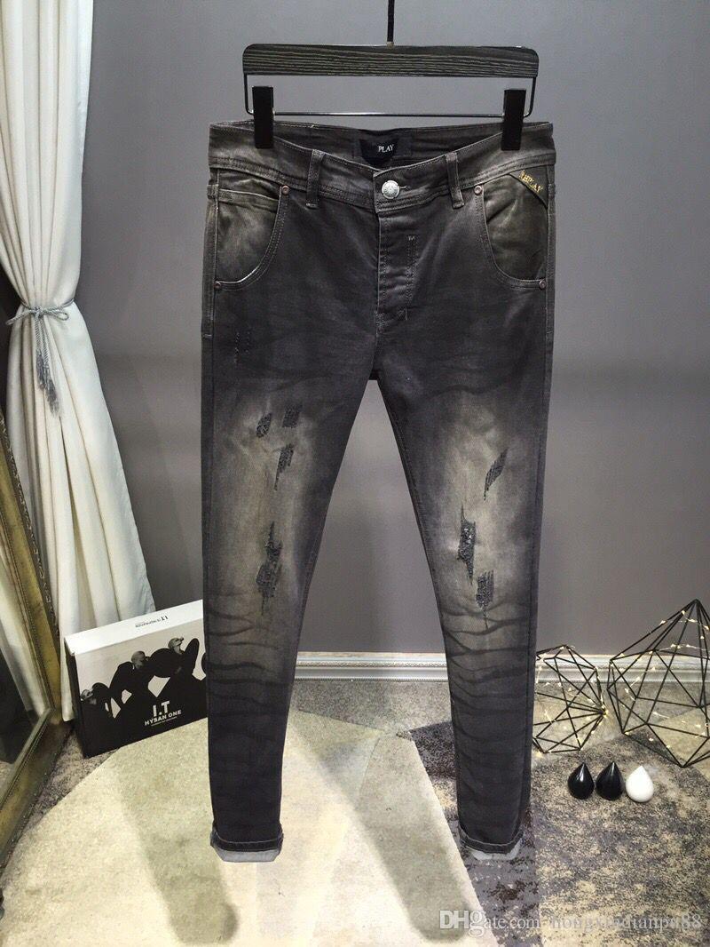 4b09f6681 Compre 2019 Novo Patchwork Motociclista Jeans Homens Camuflagem Slim Fit Skinny  Calças Jeans Motociclo Em Linha Reta Lavado Zipper Hip Hop Calças De ...