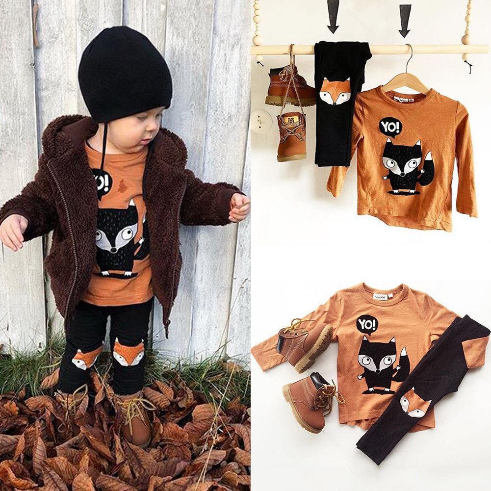 92e19680c 2019 Toddler Kids Baby Boy Fox Clothes Set Fashion Long Sleeve ...