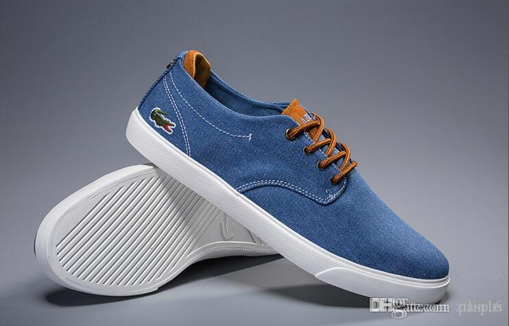 d123d924e62 Compre LACOSTE Nuevo Diseñador Low Top Todos Los Zapatos De Lona Con  Bordados De Cocodrilo Zapatos Casuales De Hombre Moda Negro Blanco  Zapatillas Para ...