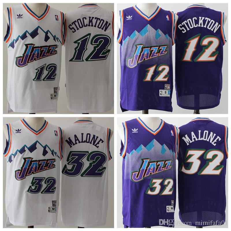 quality design b51e1 54e05 12 John Stockton 32 Karl Malone Utah mens Jazzs Mitchell & Ness 1996-97  Swingman basketball Jersey