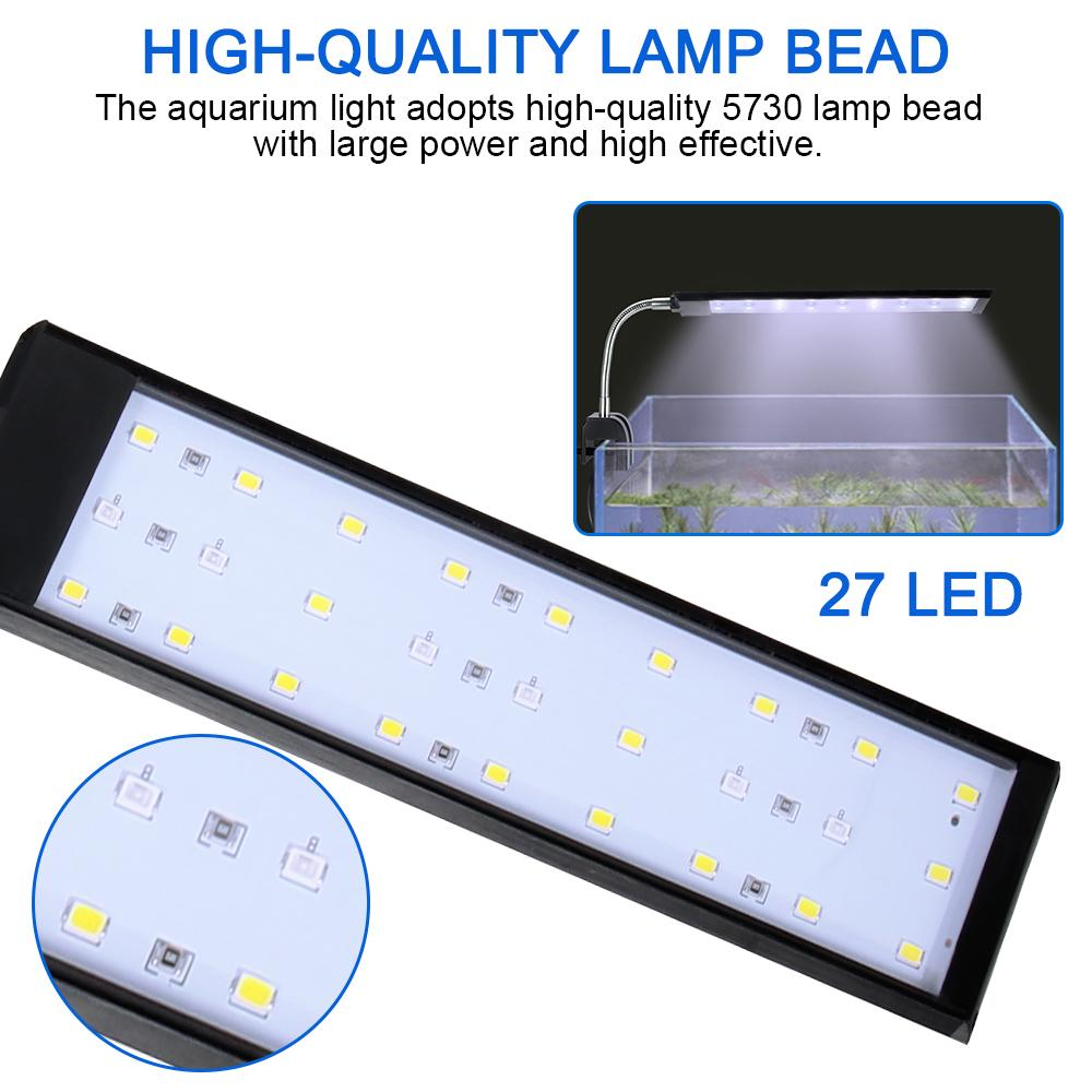 ABEDOE DC 12V LED Aquarium Light Fish Tank Lamp With Flexible Clamp White And Blue Color Fishbowl Lighting AC 100~240V