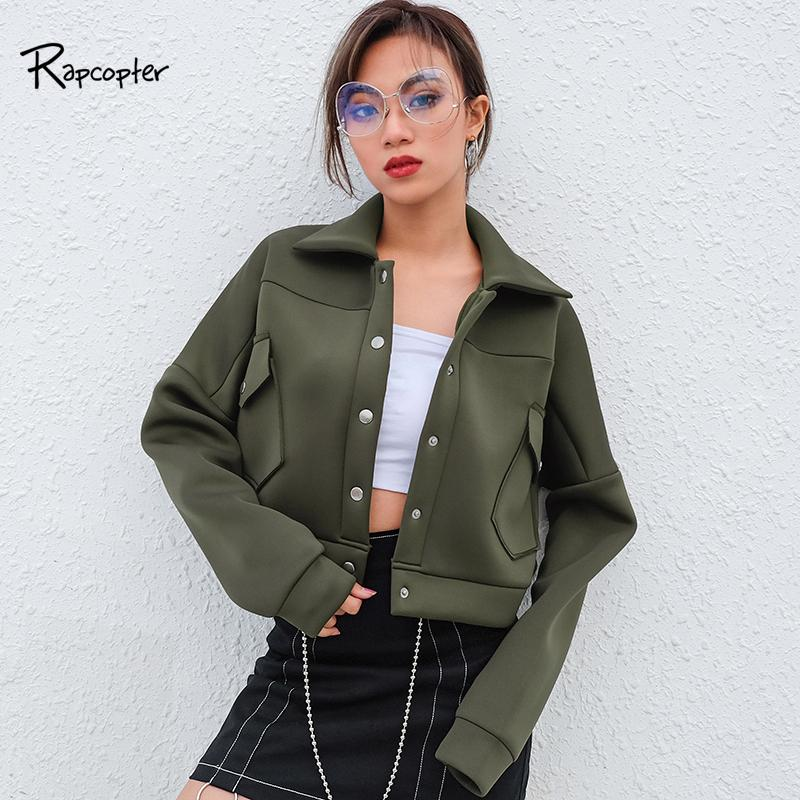 7e2a032691 Rapcopter Women Army Green Turn Down Collar Short Jackets Full Sleeve Casual  Single Breasted Pockets Coat Woden Loose Pop Jacket Quilted Jackets Sweater  ...