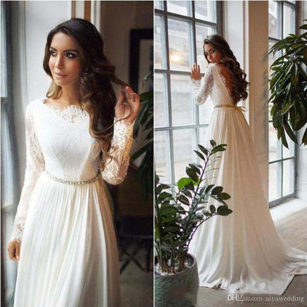 Country Western A Line Cheap Chiffon Bridal Gowns Beaded: Discount 2020 Country Wedding Dresses A Line Jewel Long