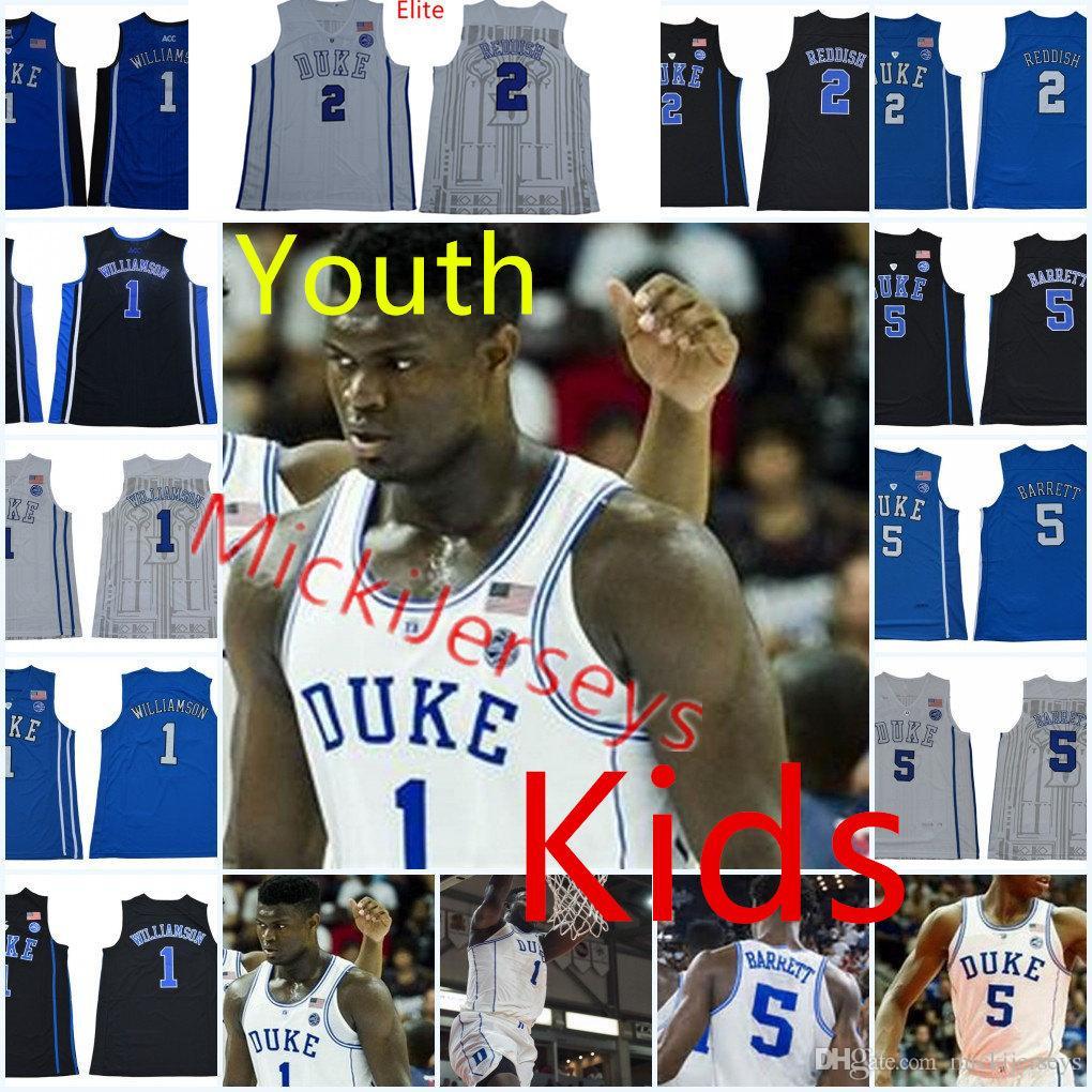 Youth NCAA Duke Blue Devils R. J. Barrett Basketball Jersey Kids  5 RJ.  Barrett  2 Cameron Reddish  1 Zion Williamson Duke Jerseys S-2X RJ. d22b1a396